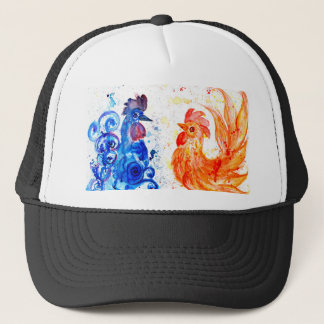Orange and Blue Roosters Trucker Hat