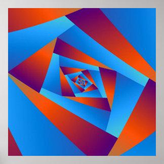 Orange and Blue Spiral Poster