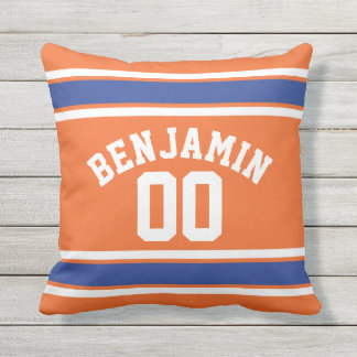 Orange and Blue Sports Jersey Stripes Outdoor Pillow
