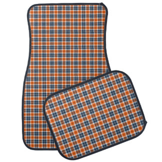 Orange and Blue Sporty Plaid Car Mats