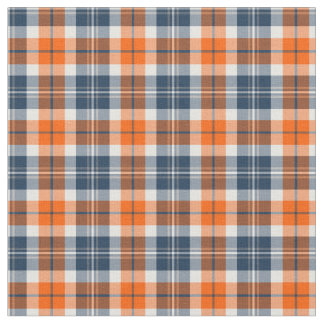 Orange and Blue Sporty Plaid Fabric