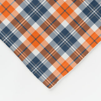Orange and Blue Sporty Plaid Pattern Fleece Blanket