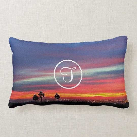 Orange and blue sunrise photo custom monogram lumbar pillow