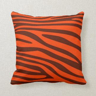 Orange and Brown Animal print skin of Zebra Throw Pillow