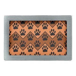 Orange And Brown Chevron With Dog Paw Pattern Rectangular Belt Buckles