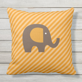 Orange and Brown Elephant on Diagonal Stripe Outdoor Pillow