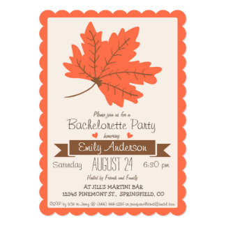 Orange and Brown Fall Leaf Bachelorette Party Card