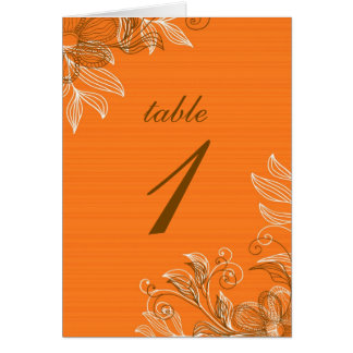 Orange and Brown Floral Table Seating Cards
