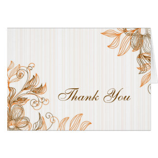 Orange and Brown Floral Thank You Card