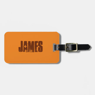 Orange and Brown Luggage Tag