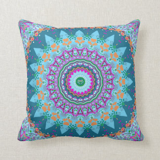 Orange and Cadet Blue Beauty Mandala Pillow