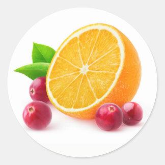 Orange and cranberries classic round sticker