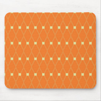 Orange and Cream Diamonds Square Argyle Pattern Mouse Pad