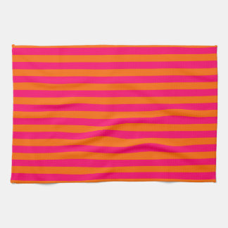 Orange and Fuchsia Stripe Kitchen Towel