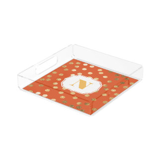 Orange and Gold Glitter City Dots Monogram Tray