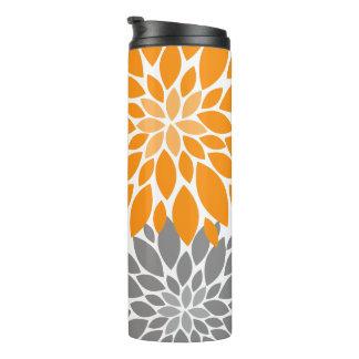 Orange and Gray Chrysanthemums Floral Pattern Thermal Tumbler