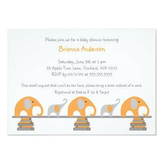 Orange and Gray elephants book baby shower invite