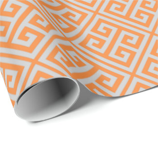 Orange And Gray Greek Key Wrapping Paper
