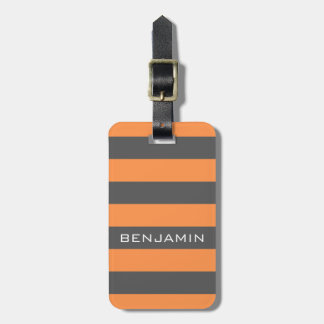 Orange and Gray Rugby Stripes with Custom Name Luggage Tag
