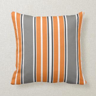 Orange and Gray Stripe Throw Pillows