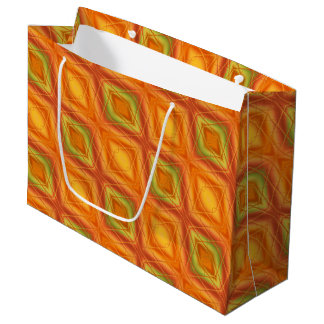 Orange And Green Abstract Pattern Large Gift Bag