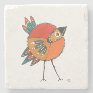 Orange and Green Bird Stone Coaster