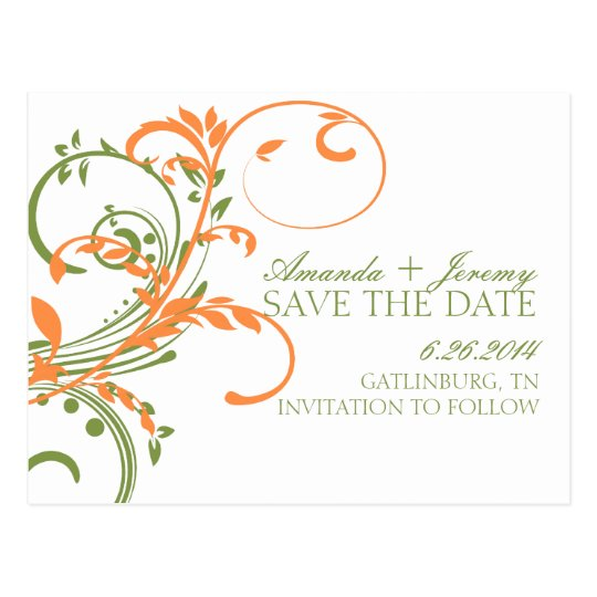 Orange and Green Double Floral Save The Date Postcard
