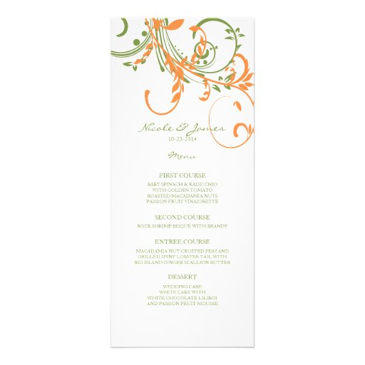 Orange and Green Double Floral Wedding Menu Announcement