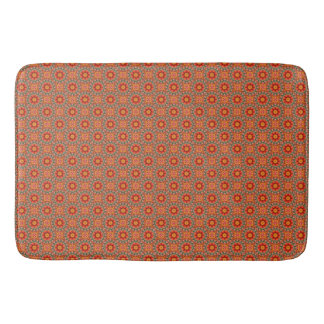 Orange And Green Floral Pattern Bath Mat