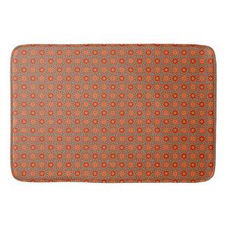 Orange And Green Floral Pattern Bath Mat
