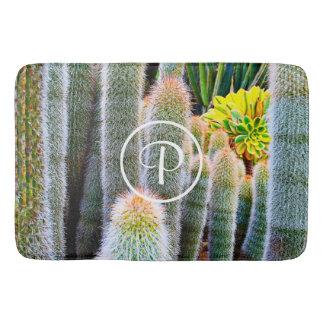 Orange and green fuzzy cacti photo custom monogram bath mat