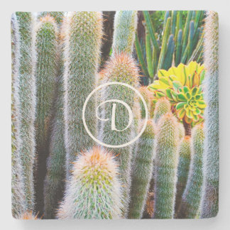 Orange and green fuzzy cacti photo custom monogram stone coaster