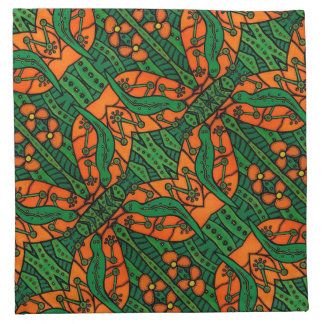 Orange and Green Gecko Lizard Pattern Napkin