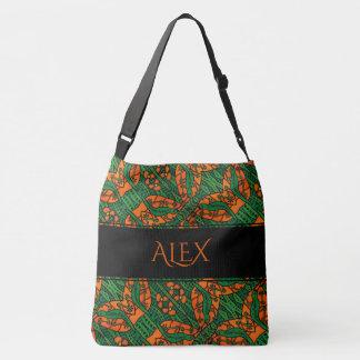 Orange And Green Lizard Pattern Custom Name Crossbody Bag