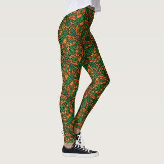 Orange And Green Lizard Pattern Leggings