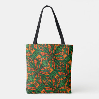Orange And Green Lizard Pattern Tote Bag