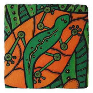 Orange And Green Lizard Trivet