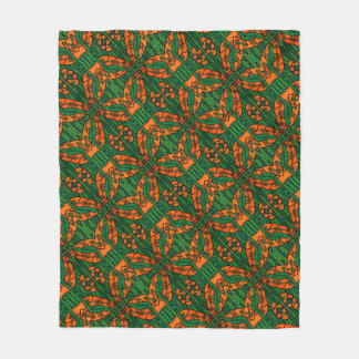 Orange And Green Lizards Gecko Pattern Fleece Blanket