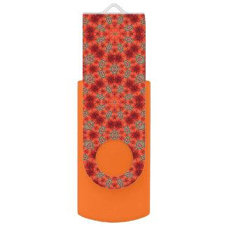 Orange and Green Mandala Pattern Swivel USB 3.0 Flash Drive