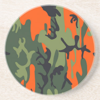 Orange and Green Military Camouflage Textures Coaster