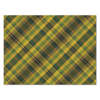 Orange and green plaid pattern tissue paper