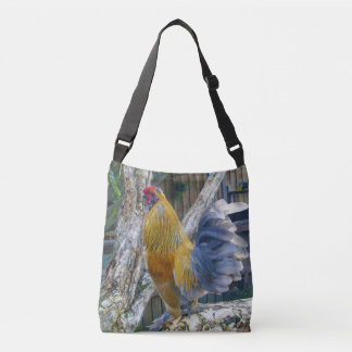 Orange And Grey Fluffy Rooster, Crossbody Bag