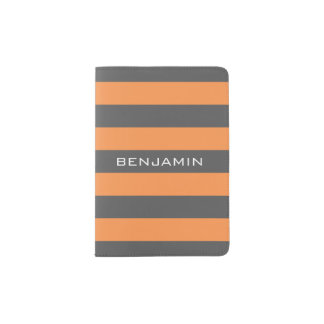 Orange and Grey Rugby Stripes with Custom Name Passport Holder