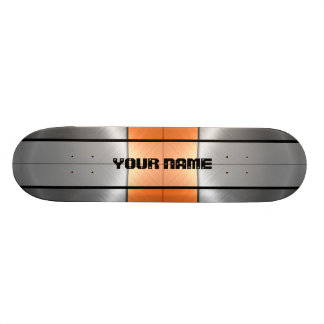 Orange and Grey Shiny Stainless Steel Metal 2 Skate Decks
