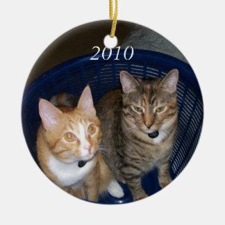 Orange and Grey Tabby Kitties Round Ceramic Ornament
