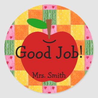 Orange and Hearts Patchwork Reward Classic Round Sticker