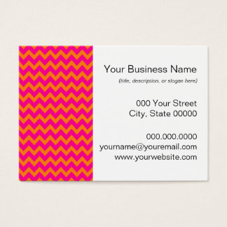 Orange and Hot Pink Chevron Pattern Business Card