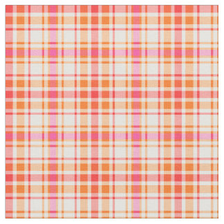 Orange and Hot Pink Fashion Plaid Fabric