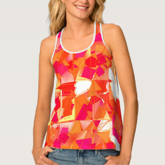Orange and Hot Pink, Kadinsky Inspired Abstract Tank Top
