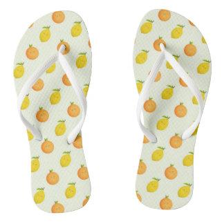 Orange and Lemon Citrus Summer Flip Flops